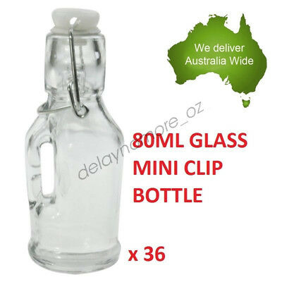 36 x 80ml Spice Mini Glass Jars with Clip Lid Bottle Jam Storage Container Jar