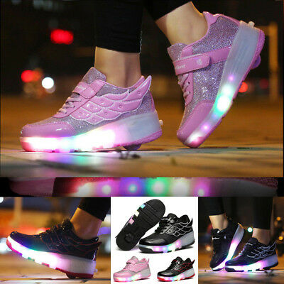 Students LED RGB Lace Up Luminous Boys Girls Wings Heelys Roller Skate Shoes
