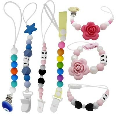 Newborn Baby Silicone Pacifier Holder Clip Chain Dummy Nipple Teether Straps New