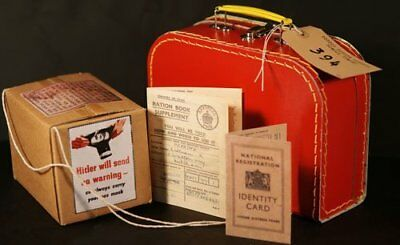 Wartime Memorabilia-1940's Ration Book-Gas Mask Box-ID Card-Label-Suitcase Set