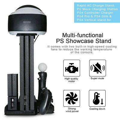New PS4 Slim & PS4 Pro & PS VR PS Showcase Multi-functional Charge Stand Dock