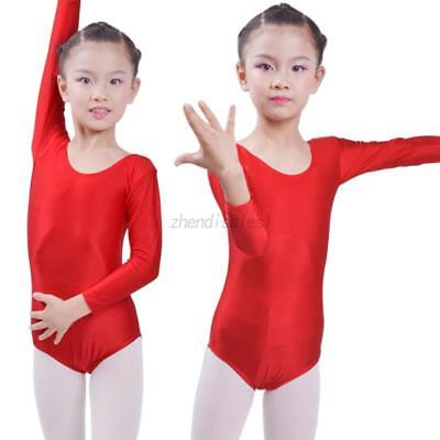 Kids Girls Ballet Dance Dress Long Sleeved Suit Ballet Clothes Tights Dancewear