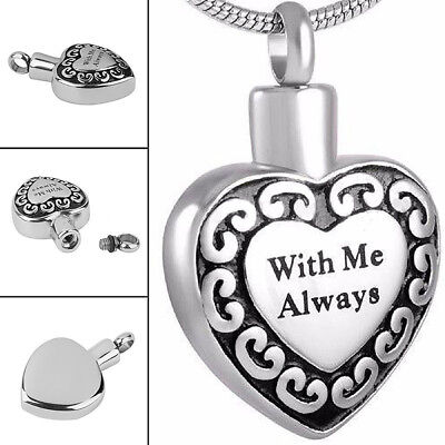 1x Cremation Pendant for Ashes Funeral Ash Holder Silver Heart Necklace Keepsake