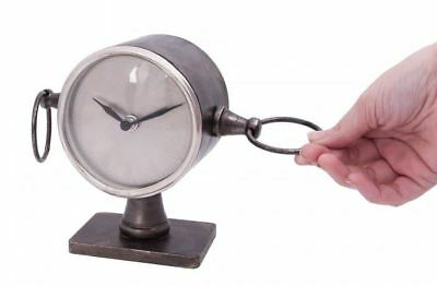 Circular Clock on Stand With Ring Detail in Natural Iron Finish