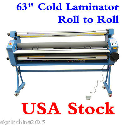 "USA! 110V 63"" Full-auto Low Temp Heat Assisted Wide Format Cold Laminator +Stand"