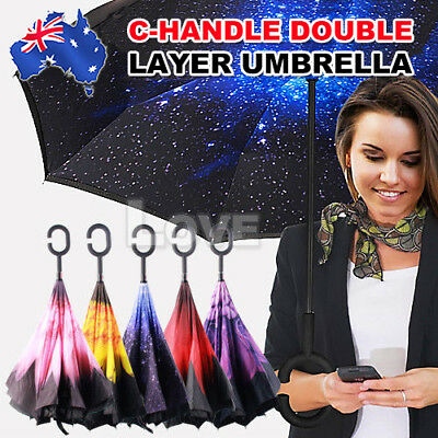 Upside Down Inside Inverted Umbrella Windproof Double Layer C-Handle Inside-Out