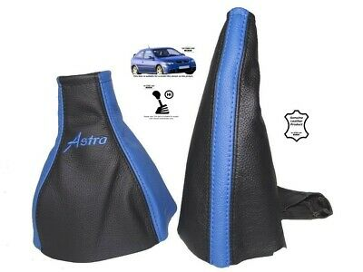 """Gear & Handbrake Gaiter For Vauxhall Astra G Coupe Leather Black Blue """"Astra"""""""