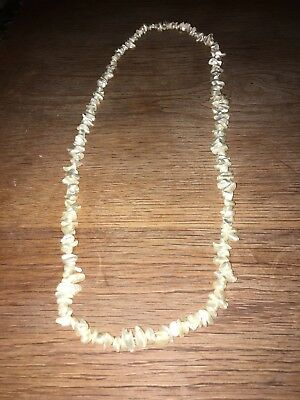 Vintage Natural Mother Of Pearl Pebble BEAD LONG NECKLACE
