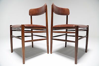 Pair Of Vintage Danish Rosewood & Leather Chairs Spottrup Mid Century Modern