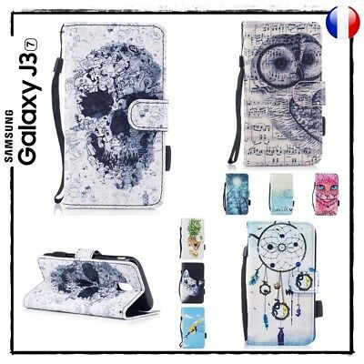 Etui coque housse porte cartes Stand Wallet case cover Samsung Galaxy J3 (2017)