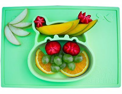 baby, kids silicone placemat and plate tray,Hipo, non slip FDA Approved, Green