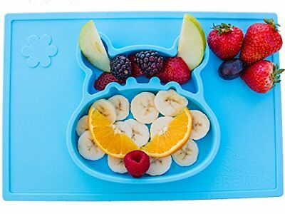 baby, kids silicone placemat and plate tray,Hipo, non slip FDA Approved, Blue