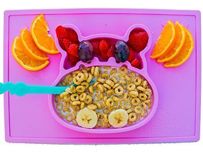 baby, kids silicone placemat and plate tray,Hipo, non slip FDA Approved, Purple