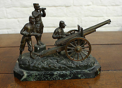 19th Century French Military Brass Bronze Cannon Soldier Group