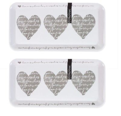 2 x Melamine Kitchen Tea Coffee Sugar Serving Tray 33cm x 16cm Heart Design