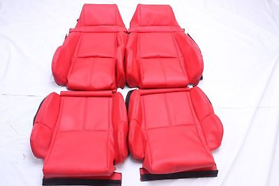 CUSTOM MADE 1989-1993 C4 Corvette Real Leather Seat Covers for Standard  Seat Red