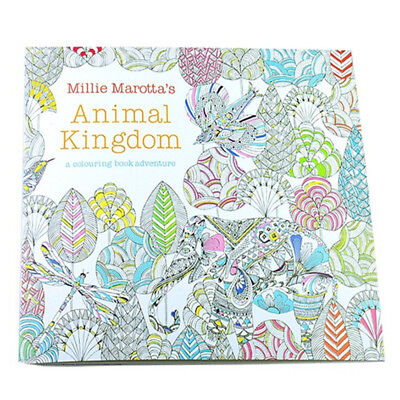 5X(Children Adult Animal Kingdom Treasure Hunt Coloring Painting Book B4Z5 A6T1