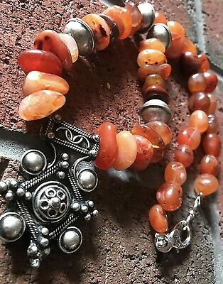 Antique Moroccan old Carnelian and silver berber Tuareg Amazigh Tribal necklace.