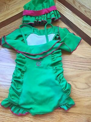 Chichanella bella Green off shoulder ruffled one piece with matching bonnet Sz3