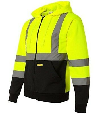 Class 3 Winter Safety Jacket High Visibility Reflective Full Zip Coat XL NEW