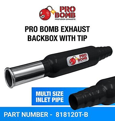 Universal Exhaust Rear Back Box Silencer Round Tail Pipe Pro Bomb In Black Color