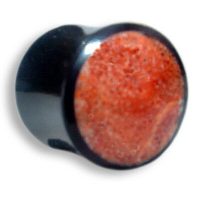 6mm - 12mm HORN rote Koralle red Coral Flesh Tunnel Ear Plug Ohr Piercing 151