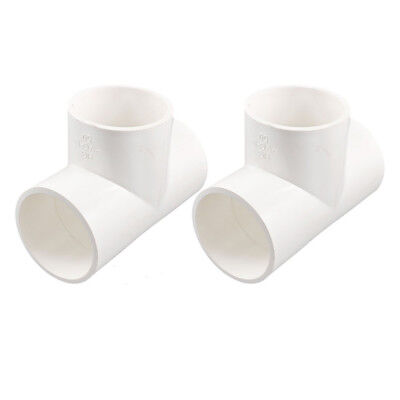 2Pcs 3 Way Water Hose Fitting Coupler Connectors 50mm White O8O8 X8N4 X6F0