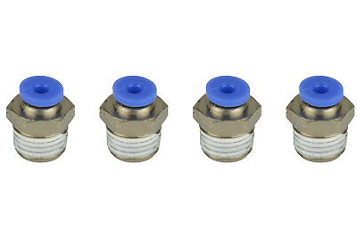 """4x TEMCo Pneumatic Air Quick Push to Connect Fitting 1/4"""" NPT to 1/8"""" Hose OD"""