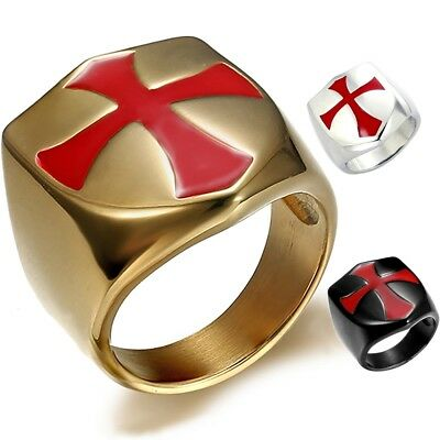 Crusader Knights Templar Red Cross Ring Gold Mens 316L Stainless Steel Size 7-15