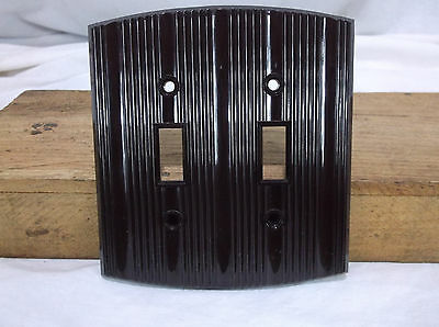 Curved Brown Bakelite double switch Combo Vintage Switchplate Art Deco two gang