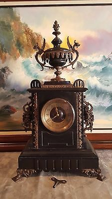 Stunning 19 th  FRENCH Black MARBLE/Bronze Clock. FULLY WORKING