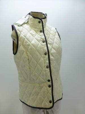 New Eddie Bauer Goose 650 Fill Down cream b-snap quilted Vest jacket women Small