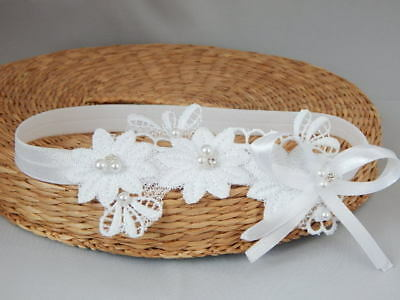 Baptism baby headband, unique lace christening hair band for girls, Handmade Fdh
