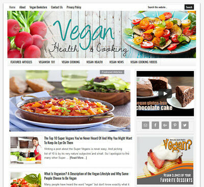 * VEGAN HEALTH & COOKING * blog turnkey website for sale AUTO CONTENT UPDATES