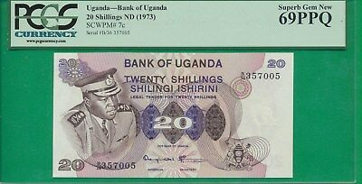 UGANDA - Pick# 7c  20 SHILLINGS PCGS 69 PPQ SUPERB GEM NEW