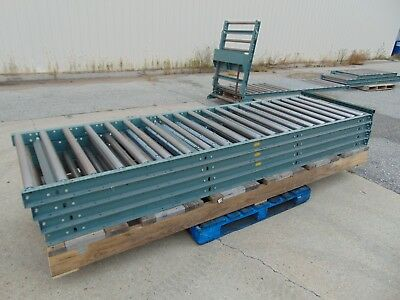 73' of Hytrol Gravity Roller Conveyor with Lift Gate and Legs