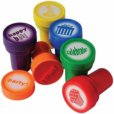 Lot Of 6 Assorted Color And Design Happy Birthday Theme Mini Stampers