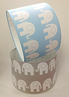 Children's Babies Nursery Elephant Lamp Light Shade Baby Blue or Soft Grey