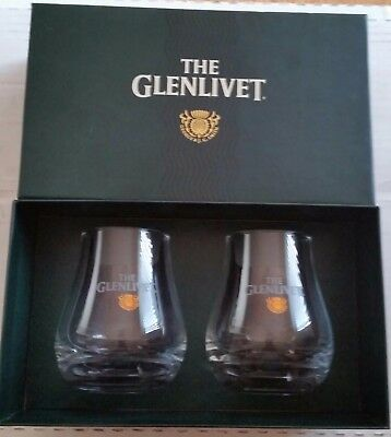 The Glenlivet 2 Snifter Glasses Box Set Single Malt Scotch Whiskey - NIB