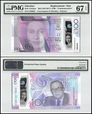 Gibraltar 100 Pounds, 2015 ND 2017,P-NEW,UNC,Polymer,REPLACEMENT/STAR,PMG 67 EPQ