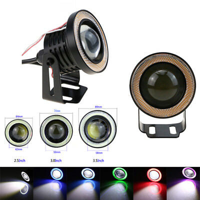 "2pcs 2.5"" 3.0"" 3.5"" LED Car Projector Lens Angel Eye Ring Halo Drive Fog Light"