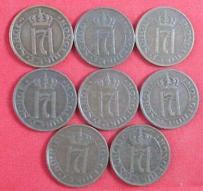 8 old vintage Norway 2 Ore, dated 1913