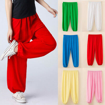 Kids Boys Girls Harem Long Trousers Dance Pants Costume Plain Leggings Age 3-12Y