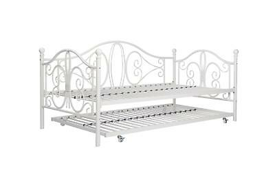 Off White Metal Daybed Frame With Trundle Twin Size Multi Functional Piece