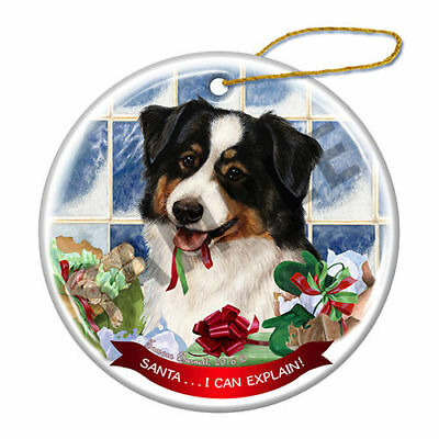 Australian Shepherd Black Tri Howliday Porcelain China Dog Christmas Ornament H2