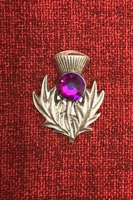 Scottish Thistle Outlander Brooch Pin Celtic Iona Scotland Crystal Silver Pewter