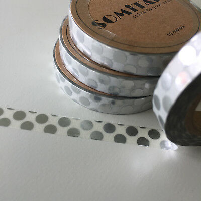 Washi Tape Thin Skinny Silver Foil Big Spots 7.5Mm X 10Mtr Plan Craft Wrap Scrap