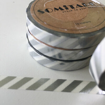 Washi Tape Thin Skinny Silver Foil Diagonal Stripe 7.5Mm X 10Mt Plan Craft Wrap