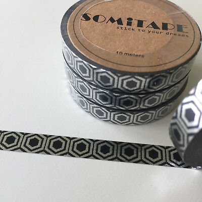 Washi Tape Thin Skinny Silver Foil Hexagons On Black 7.5Mm X 10Mt Plan Craft
