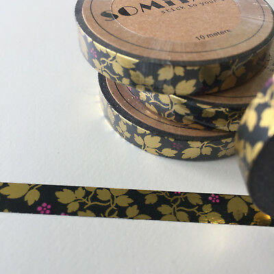 Washi Tape Thin Skinny Gold Foil Vine & Flower On Black 7.5Mm X 10Mt Plan Craft